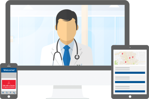 telemedicine on desktop tablet and smartphone